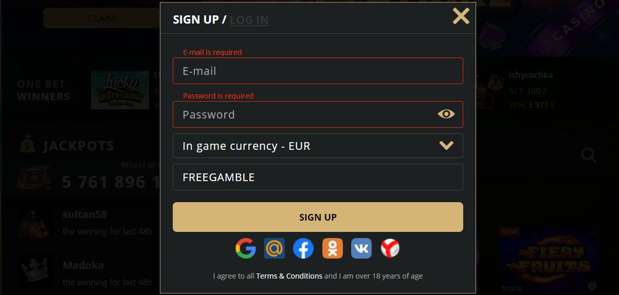 Riobet casino registration